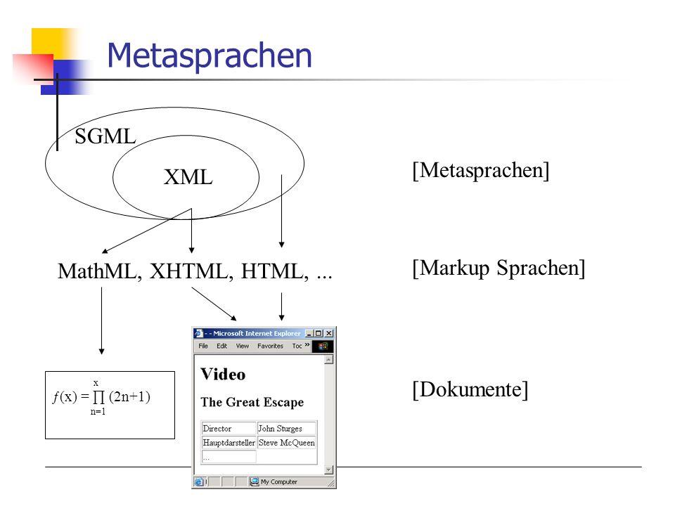 Metasprachen SGML XML [Metasprachen] [Markup Sprachen]